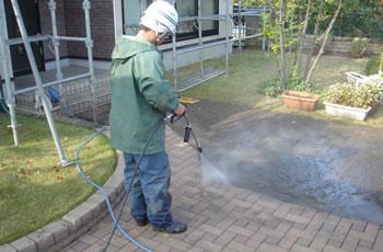 インターロッキングや土間の洗浄