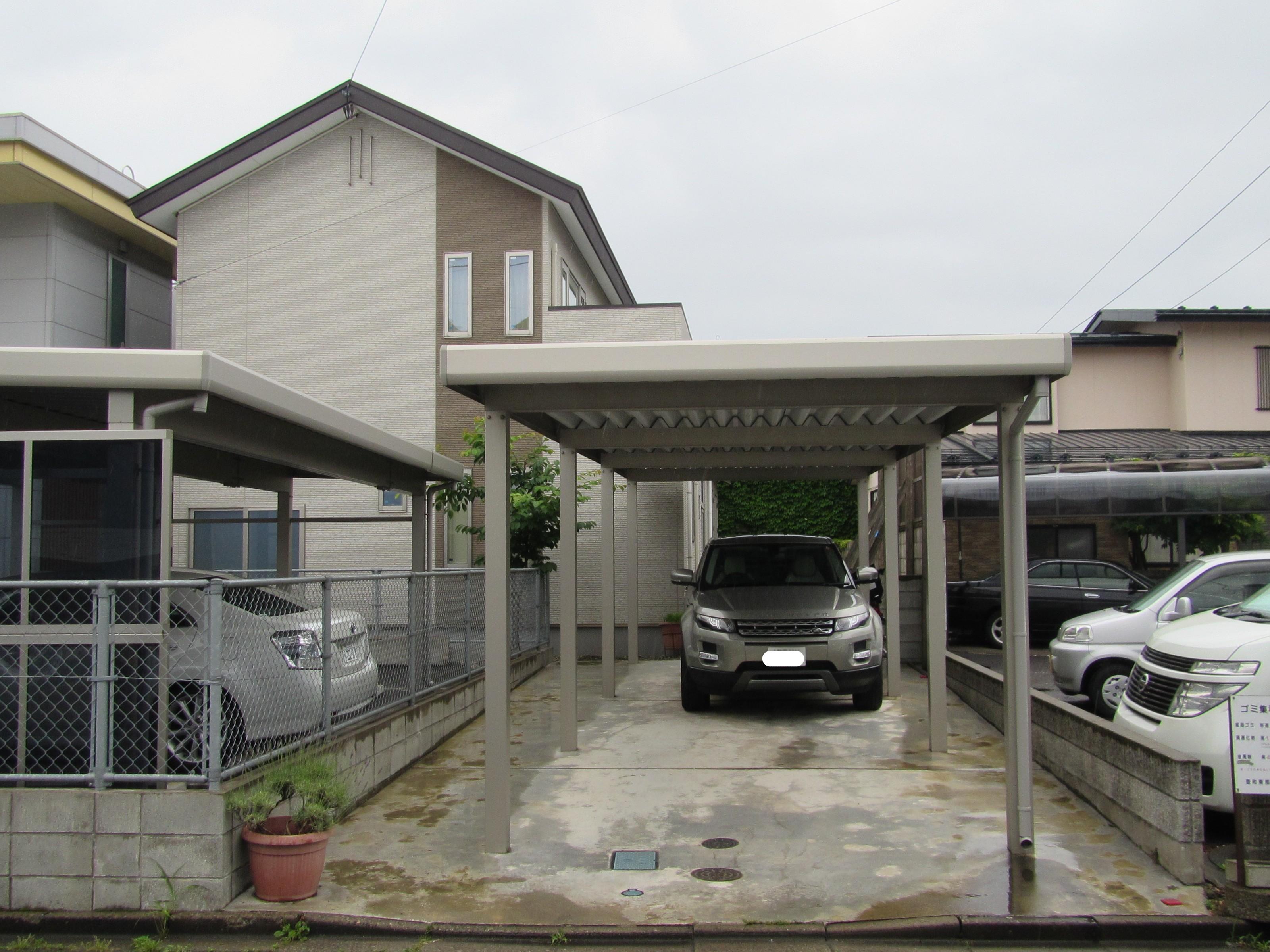 耐雪100cm 折板屋根カーポート(縦2台)+駐車場コンクリート